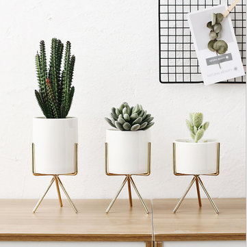 metal rack ceramic flower pots
