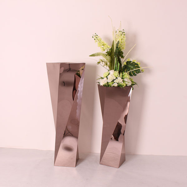 Rose gold stainless steel decor flower pots