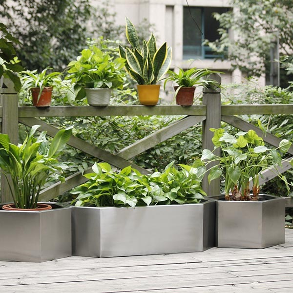 Stainless steel flower pots garden