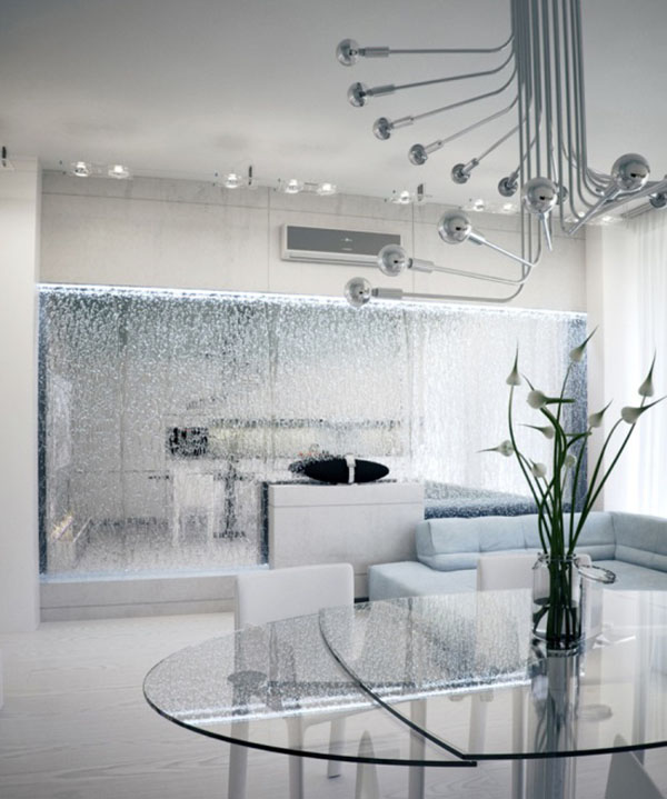 Modern living room with mirrored waterfall features